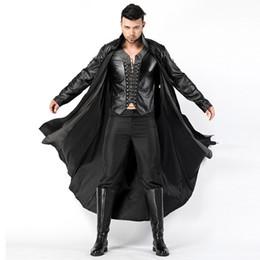 Cuero vampiro online-2018 nuevos adultos para hombre Halloween Vampire Disfraces trajes de cuero de imitación Fancy Party Diablo vestidos de Cosplay con largo abrigo y pantalones sexy