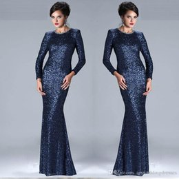Wholesale Quinceanera Mothers Dress - navy blue sequin long evening dress 2018 long sleeves beaded mermiad slim women pageant gown formal mother dress vestido