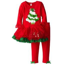 mädchen rotes pullover kleid Rabatt Red Baby Mädchen Weihnachten Kleid Kleidung Sets X'mas Mädchen 2-teilige Kleidung Anzug Kinder Tutu Kleider + Hosen Kinder Outfits Jumper Bluse