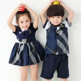 2019 família, vestido, alikes, mãe, filha Roupa do miúdo definir camisa xadrez azul com shorts azuis meninos set meninas vestido de verão uniformes escolares irmão e irmã roupas 3-7 T