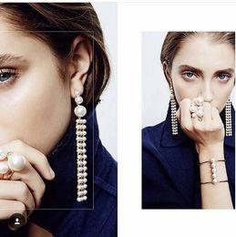 Wholesale Long Black Cross Earrings - Fashion Bridal gold Champagne Silver Crystal long earrings vintage jewelry Pierced earings retro temperament drop earrings For Wedding Event