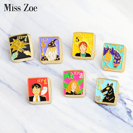 Wholesale fans asian - Miss Zoe Wizard Magic book series pins Witch owl snake Phoenix Werewolf Wand brooch Denim coat Pin Buckle Badge Gift for fans