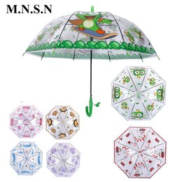 Wholesale Frog Lighting - Cute Transparent Animal Cartoon Kids Umbrella Child Semi-automatic Paraguas Frogs Bees Rainproof Umbrella for Boys Girls Gift