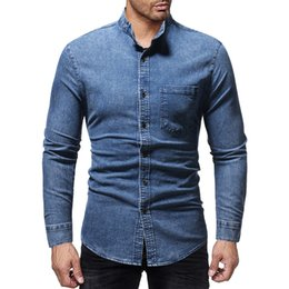 ff8479544a branded jeans shirts Promo Codes - Brand 2018 Fashion Male Shirt  Long-Sleeves Tops New