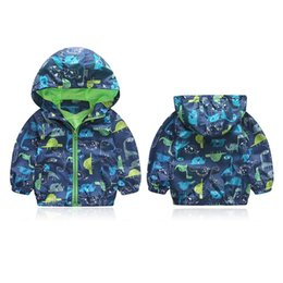 Wholesale Korean Children Boys Jacket - Cute Animal Printed Windbreaker Kids Jacket Boys Outerwear Coats Kids Hooded Children Clothing Korean Style