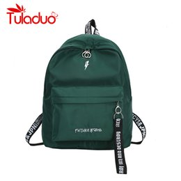 Wholesale green ribbon schools - Tuladuo Large Capacity Backpacks Designer Ribbon School Bags for Teenager Girls Fresh Travel Shoulder Bags Waterproof Rucksack