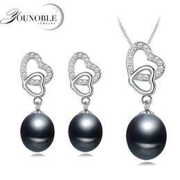 2019 venta al por mayor de joyería de tanzanita Joyas de perlas reales para mujeres, conjuntos de collar y aretes de perlas naturales de agua dulce de corazón de boda