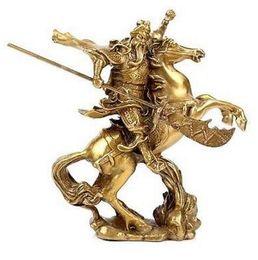 Estatuas antiguas online-Chino antiguo héroe Guan Gong Guan Yu montar a caballo * estatua de bronce