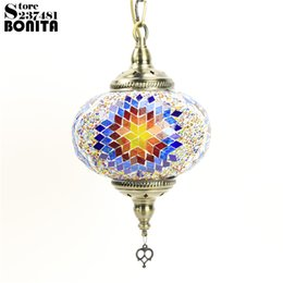 Wholesale mosaic glass lamps - Big size Southeast Asian Bohemia hanging lamps for dining room Handmade Iron glass mosaic Colorful design lamp pendant lighting