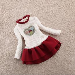 Canada Bébé Filles Robes Enfants Tenues De Noël En Forme De Coeur En Coton Plus Velours Robe Épaisse Enfants Bottoming Dress cheap baby girl velvet dresses Offre