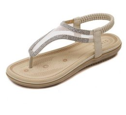 Wholesale Elastic Strap Gladiator - New summer Bohemia sandals shoes woman fashion rhinestone mesh flip flop beach soft flat sandals Elastic band size 35-41 GA239