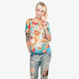 Femmes T-shirt Drôle Hamburger Chat 3D Full Print Girl Taille Libre Stretchy Casual Tops Lady Manches Courtes Graphic Tee Shirt Blouse (GL28832) ? partir de fabricateur
