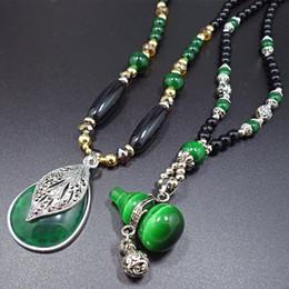 Wholesale Gourd Necklace Pendant - Ethnic Green Gourd Pendant Necklace Bohemia Vintage Long Beaded Chain Necklace Water Drop Leaf Pendants Neckalces Women Jewelry