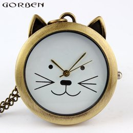 Wholesale Cute Pocket Watch Necklace - Lovely Cute Cat Quartz Pocket Watch Necklace Vintage Pendant Watches With Chain Women Girls' Gift