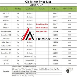 Wholesale Price Listing - (Miners Price List) Antminer S9 L3+ D3 A3 X3 E3 V9 S7 T9+ M3 A8 E9+ A8+ S11 Baikal Giant B N N+ X10 S11 D9 DCR 6T Z9 Innosilicon Avalon