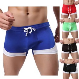 Wholesale Boys Wearing Briefs - Bandage Tie design Men's Boxer Briefs Swimming Swim Shorts Trunks Beach Man Boys swimming wearing 2017 new sale