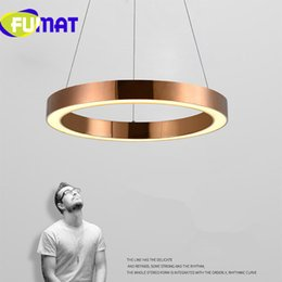 Wholesale Rose Gold Pendant Light - FUMAT Modern Nordic Rose Gold Restaurant LED Pendant Lights Circle Ring Suspension Luminaire Dining Room Lights Free Shipping