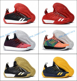 Wholesale Graffiti Fabric - 2018 New Harden 2 Black White Red Wolf Grey Graffiti Basketball Shoes for Mens High quality James 2s Training Sports Sneakers Size 40-46