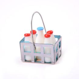 Wholesale Quality Kitchen Furniture - High Quality 1 12 Dollhouse Furniture Miniature Metal Milk Basket with 5pcs Bottles Set Dolls House Kitchen Porch Accs Decor