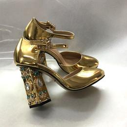 2019 talon fronde doré Or argent bijoux talons hauts talons chunky chaussures de fête de mariage talon fronde doré pas cher