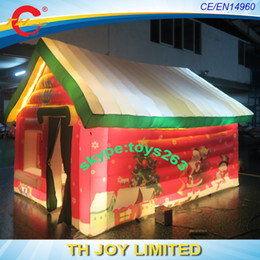 Wholesale Christmas Inflatable Santa Claus - Free air shipping inflatable christmas house   led lighted inflatable christmas grotto   santa claus cabin tent