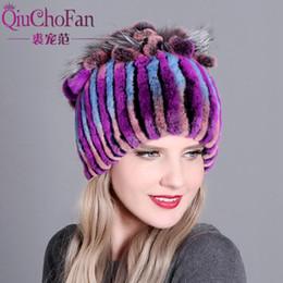 dcbf247e00f Genuine Rex Rabbit Fur Women s Hats Winter Beanie Striped Head Top Flower  Fox Fur Warm Real Wool Knit Caps Headgear Hat free