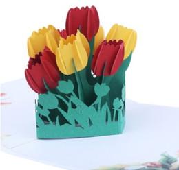 Rifornimenti di fabbrica stampa a colori Carte 3D tulipano tridimensionale intaglio della carta San Valentino fiori tridimensionali carte fatte a mano cheap hand made papers flowers da fiori fatti a mano fornitori
