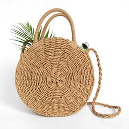 Feriado bolsas on-line-2018 newfashion mão-tecido grande saco de palha rodada popularidade palha Mulheres bolsa de Ombro saco de férias na praia Senhoras Tote bolsa