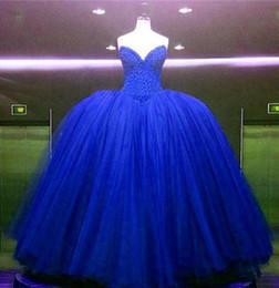 abito blu bella quinceanera Sconti 2018 New Beautiful Ball Gown Bordare Royal Blue Quinceanera Abiti Per 15 Anni Dolce 16 Plus Size Prom Partito Prom Gown QC1018