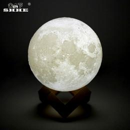 2019 bebê luz recarregável bebê Recarregável LED Night Light 3D Impressão Moon Lamp Luna Magia Toque Full Moonlight Portátil 2 Cores Mudança Presente Do Bebê Nightlight bebê luz recarregável bebê barato