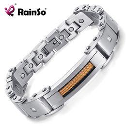 pulseiras rainso Desconto Rainso Pulseiras Magnéticas 2018 Nova Moda Jóias Pulseiras De Aço Inoxidável 316L Para Mulheres Dos Homens 8.5