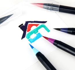2019 teste di fontana Colore pennello morbido testa di acquerelli Comic pennello a mano stilografica La penna morbida calligrafia penna 20psc = 1 set teste di fontana economici