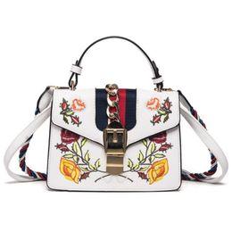 Wholesale Free Fringe - Women famous brands Embroidered bag fringe crossbody shoulder strap bag luxury designer leather top-handle bags free shipping