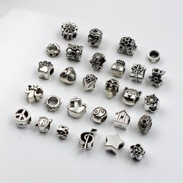 Wholesale oval 5mm - 28pcs lot 5mm Hole-diameter Mix Styles Loose Beads Charm DIY Jewelry Accessory Pendant For Keyring Bracelet Necklace