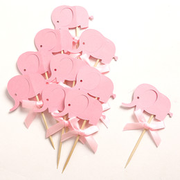 Wholesale Custom Cupcake Decorations - 2016 New Custom Bow & Pink Elephant Double-Sided Cupcake Toppers Picks for Baby Shower Girl Birthday Party Decorations Favors