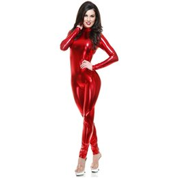 Wholesale Pink Catsuit - Metallic lycra Catsuit Womens Dance Wear Spandex Zentai Bodysuit Back Zipper