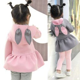 Туфли-куртки онлайн-6-24 Months Toddler Baby Girls 3D Ear Bunny Rabbit Hooded Coat Long Sleeve Tutu Jacket Hoddie Outfits Clothes Outwear