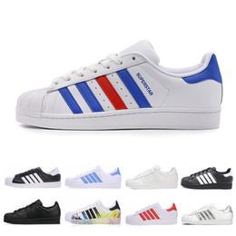 best sneakers 9e338 04129 adidas Superstar vendita all ingrosso Superstar Uomo Donna Scarpe da corsa  zapatos nero bianco rosso designer Superstars trainer uomo Sport scarpe  casual ...
