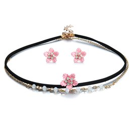 Wholesale Velvet Accessories - Clavicle Necklace Earrings set Alloy Flower pendant jewelry accessories choker velvet chain crystal necklace fashhion jewelry 162407