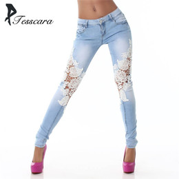 Wholesale Spliced Jeans - Women Skinny Slim Fashion Pencil Jeans Lace Spliced Pants Lady Low Waist Causal Trousers Girl Outwear Plus Size Hot Sell Bottom