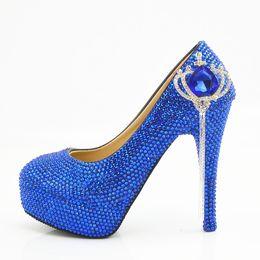Мода ручной работы Синяя Корона кисточкой кристалл платформа Высокие каблуки Свадебные туфли Люкс с круглым носком Высокие каблуки сексуальные Партии Пром Обувь Плюс Размер от
