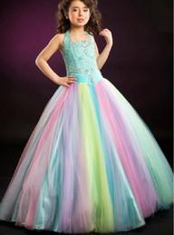 Wholesale Dresses Size 13 - Gorgeous Rainbow Tulle Halter Beads Flower Girl Dresses Princess Dresses Girl's Pageant Dresses Custom Made Size 2-6 8 10 12 14 KF316138