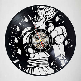 Wholesale vinyl dragon - Anime Dragon Ball Z Black Art Vinyl Wall Clock Modern Home Record Vintage Decoration Vinyl Record Wall Clock(Size:12inch Color:Black)