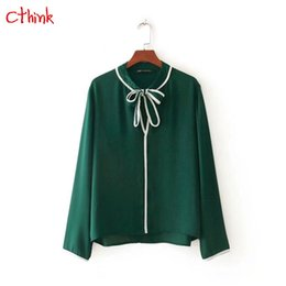 Wholesale Womens Office Blouse - 2018 Spring New Long Sleeve Lacing O Neck Chiffon Women Blouse Fashion Green Blusas Pullover Regular Office Lady Womens Blouses