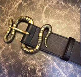 Wholesale black leather belt 38 - Bronze snake buckle luxury belts designer genuine leather belt for men snake pattern belt male brand belts fashion mens plain without box