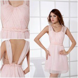 1e3d373857b 2018 Pink Short Sweet 16 Homecoming Dresses Sheer Sweetheart Neck Chiffon  Pleats Mini Dress Cocktail Party Dresses For Graduation WD2-005