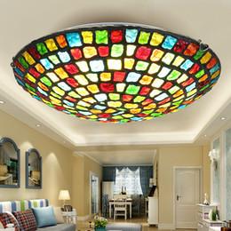 Tiffany Mediterráneo estilo europeo techo de cristal de colores para la iluminación del hogar de la lámpara del pasillo de entrada desde fabricantes