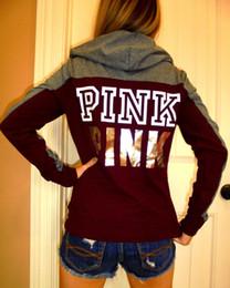 Wholesale winter sweatshirts for women - New Love Pink Hoodie For Women Luxury Designer Hoodie Pullover Sweatshirt Winter Tops With Print Pink Long Sleeve Women Clothing Size S--XL