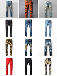 Wholesale Champagne France - Distressed France Fashion Pierre Straight Jeans Men's Biker Jeans Hole Stretch Denim Casual Jean Men Skinny Pants Elasticity Ripped Trousers