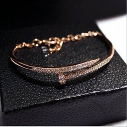 Wholesale Trend American - New European and American trend temperament diamond color bracelet bracelet nail polish genuine gold color female